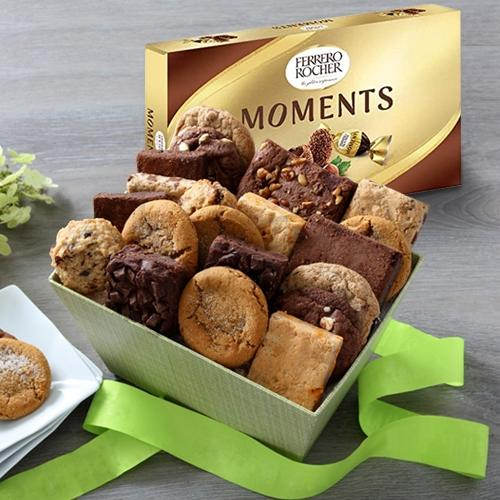 Delectable Brownies with Cookie Mans Assorted Cookies Gift Box