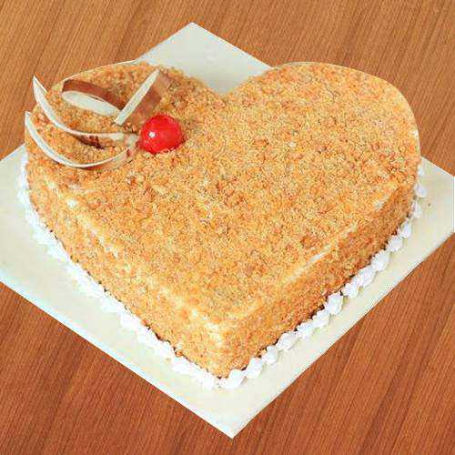 Fresh-Baked Butter Scotch Heart-Shape Cake