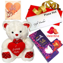 Exquisite Pizza Hut Treat Vouchers with Cadbury Dairy Milk Silk Pop Up Heart, lOve Teddy and Free V-Day Card