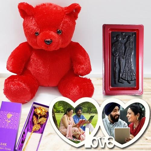 Glamorous V-day Gift of Twin Heart Personalized Photo Frame with Chocolates, Teddy n Roses