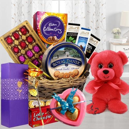 Delightful Chocolate Temptations Gift Hamper with Teddy, Lamp N Plant