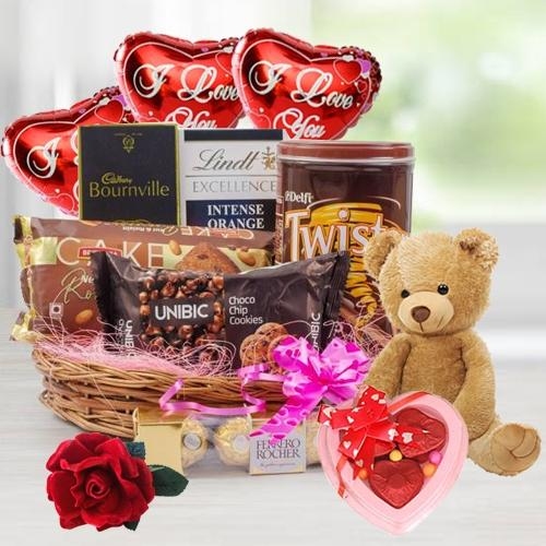 Breathtaking Chocolate Gift Hamper with Balloon, Teddy N Rose