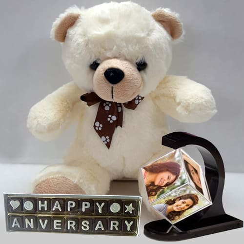 Admirable Personalized Photo Revolving Stand with Love Teddy N Handmade Chocolate