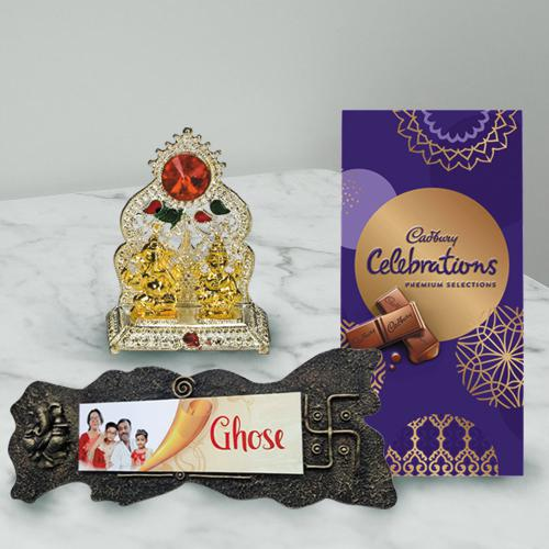 Appealing Handmade Name Plate with Chocolates n Antique Mandap