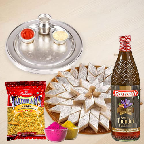 Marvelous Silver Plated Thali with Holi Gifts Assortments