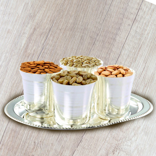 Dry Fruits with Silver Plated Glasses and Tray