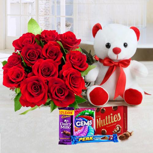 Chocos with Teddy N Red Roses Bouquet