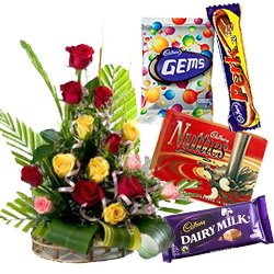 15 Mixed Roses with Assorted Cadburys Chocolates