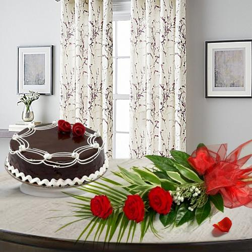 Luminous 3 Red Roses with 1/2 Kg Chocolate Cake