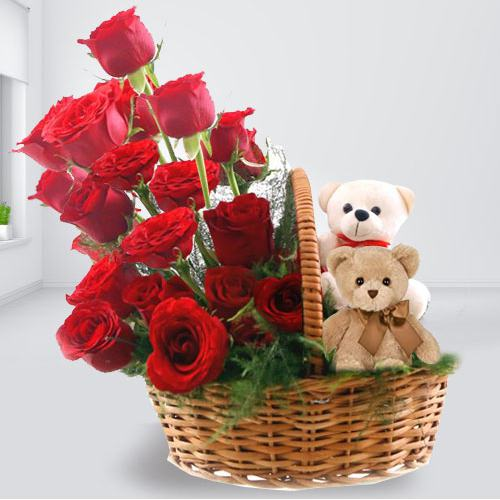 Red Roses with Twin Teddies Basket Arrangement