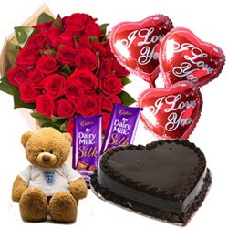 Beautiful Red Roses, Chocolate Cake, Mylar Balloons, Chocolates and a Teddy
