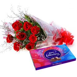 Beautiful Bouquet of Red Roses and Cadbury Celebrations