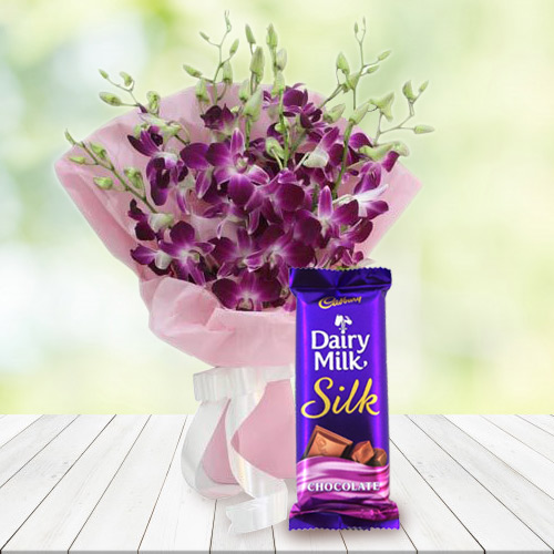 Wonderful Bouquet of Orchids and Cadbury Dairy Milk Silk