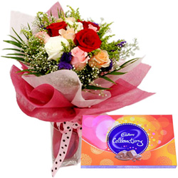 Stunning Combo of Mixed Roses Bouquet N Cadbury Celebrations