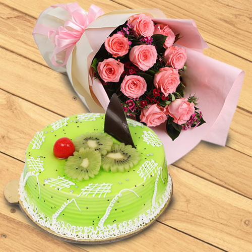 Elegant Red Roses Bouquet with Kiwi Cake