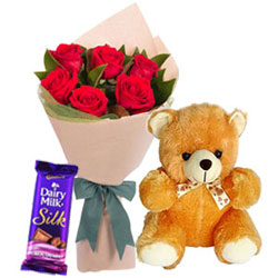 Garden Fresh Red Roses Bouquet with Teddy N Cadbury Silk