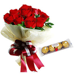 Freshly Picked Red Roses Bouquet with Ferrero Rocher