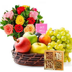 Yummy Assorted Fruits Basket with Dry Fruits N Flowers Arrangement