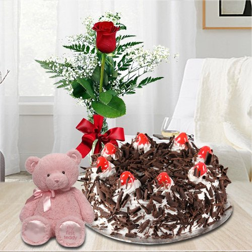 Finest 1 Lb Black Forest Cake with Single Red Rose and a Small Teddy Bear