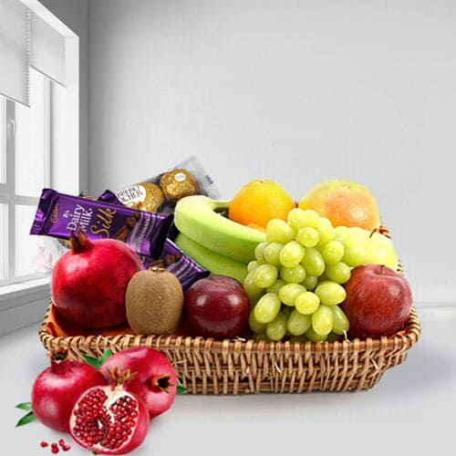 Tasty Fruits Basket with Assorted Chocolates