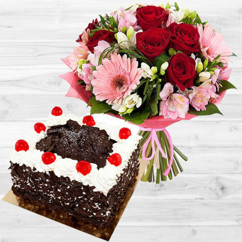 Dazzling Mixed Flowers Bouquet with 1 Lb Black Forest Cake