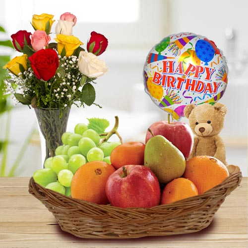 Fresh Fruits Basket with Roses, Mylar Balloons n Teddy