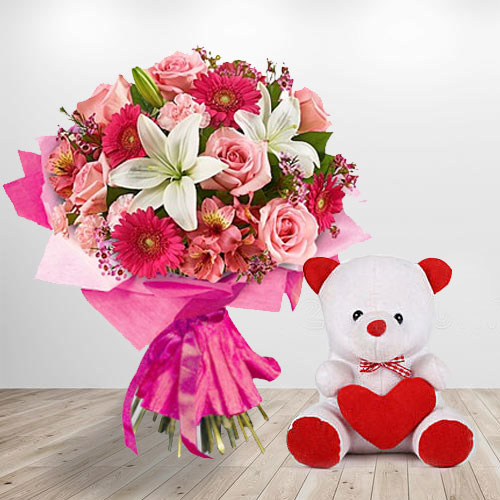 Multicolored Flowers And Teddy Love