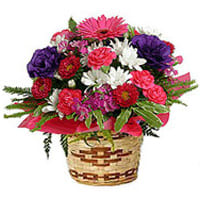 Bamboo Pot Arranged with Mixed Flowers
