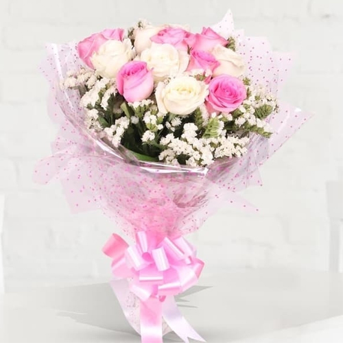 Pretty Pink and White Roses Bunch