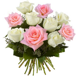 Effervescent Pink and White Roses Bunch