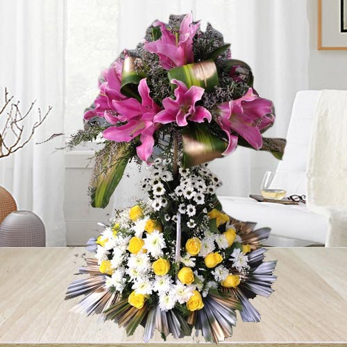 Double Deck Arrangement of Lilies, Roses N Chrysanthemum