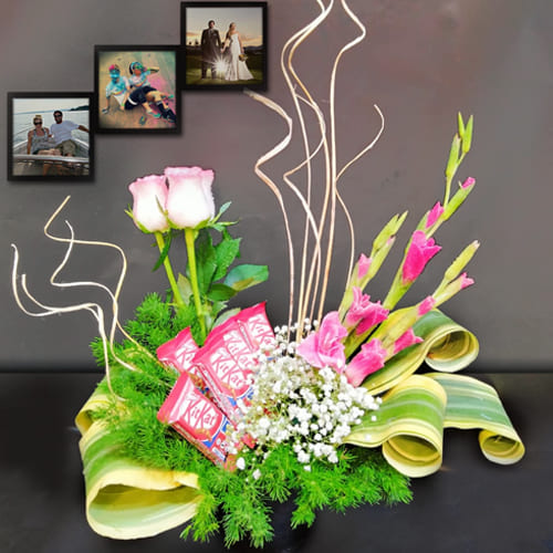 Artistic Mixed Flowers N Chocolates Arrangement