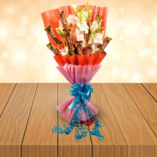 Wonderful Bouquet of Gladiolus N Cadbury 5 Star