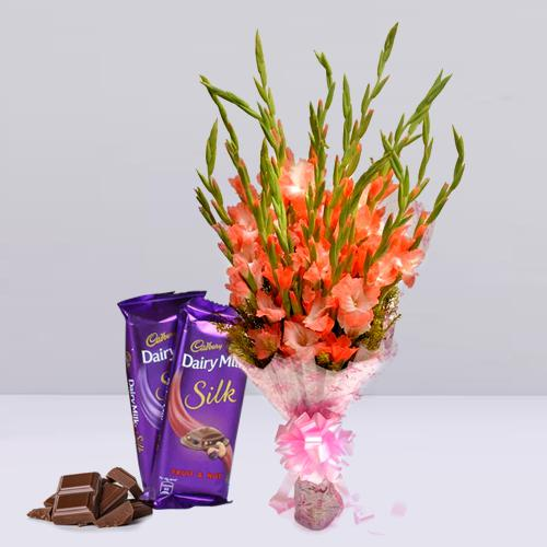 Glorious Gladiolus Bouquet with Cadbury Dairy Milk Silk