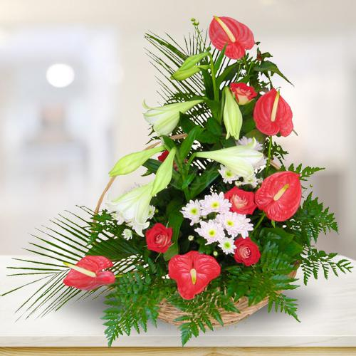 Marvelous Arrangement of White N Red Flowers