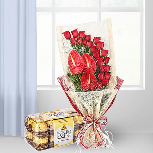 Lovely Bouquet of Red Roses n Anthurium with Ferrero Rocher