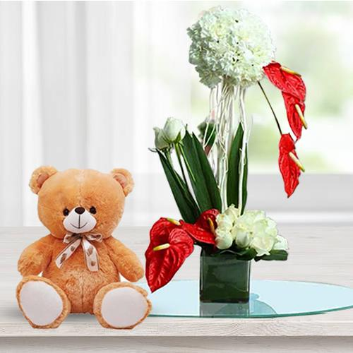 Artistic Flowers Display in Glass Vase with Cute Teddy