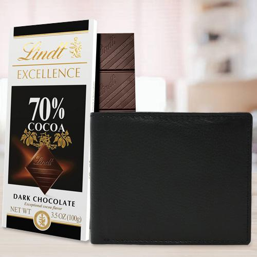 Amazing Rich Born Leather Wallet for Men with a Lindt Excellence Chocolate Bar