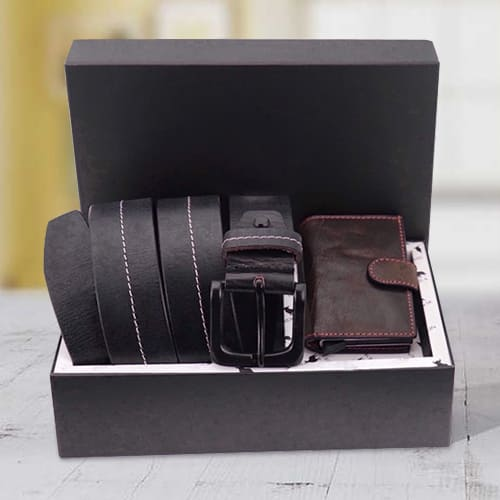 Amazing Hide and Skin Mens Leather Card Holder and Middle Stitch Belt