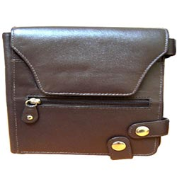 Lovely Brown Leather Purse for Ladies with Security Clutches