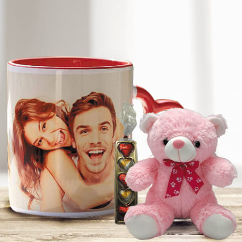Wonderful Personalized Photo Mug with Heart Chocolate N Cute Teddy