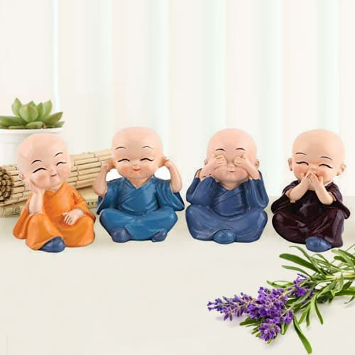 Beautiful Set of 4 Buddha Monks Figurines