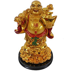 Attractive Standing Golden Laughing Budha