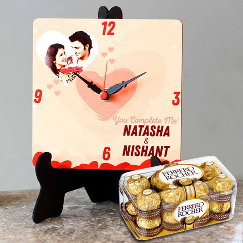 Mind Blowing Personalized Photo Table Clock with Ferrero Rocher Chocolates