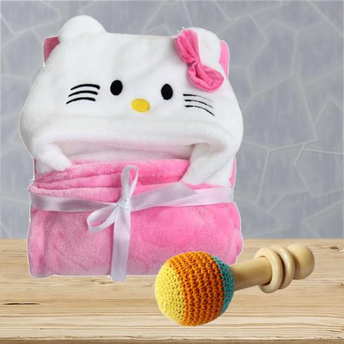 Exclusive Wrapper Baby Bath Towel with Rattle Toy<br>