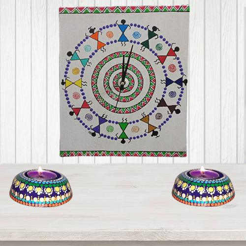 Attractive Warli Art Wall Clock with Twin Dot Mandala Art Diya (Handmade)