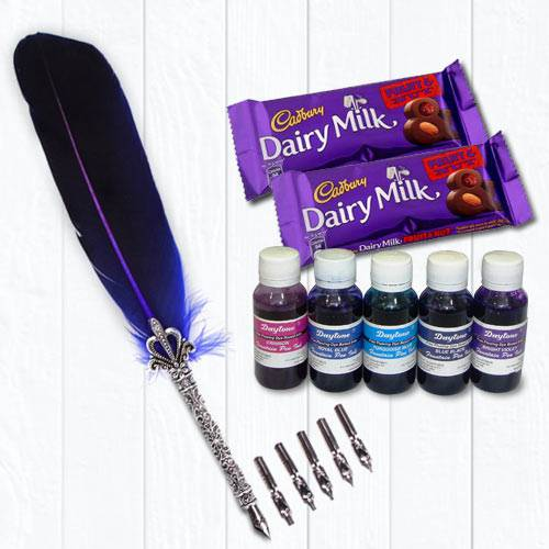 Wonderful Calligraphy Quill Set with Ink n Chocolates