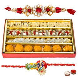 Refreshing Rakhi Selection Gift of Haldiram Assorted Sweets with Free Rakhi, Roli Tilak and Chawal