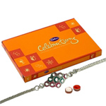 Wonderful Collection of Cadbury Celebration Chocolate Set and a Stylish Silver Plated Rakhi for your Precious Brother
