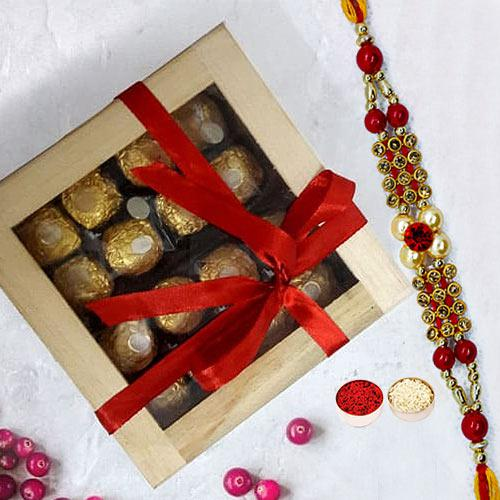 Exclusive Ferrero Rocher in Wooden Box with Rakhi